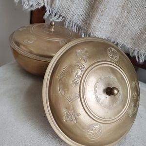 Set of 2 Vintage Brass Bowls